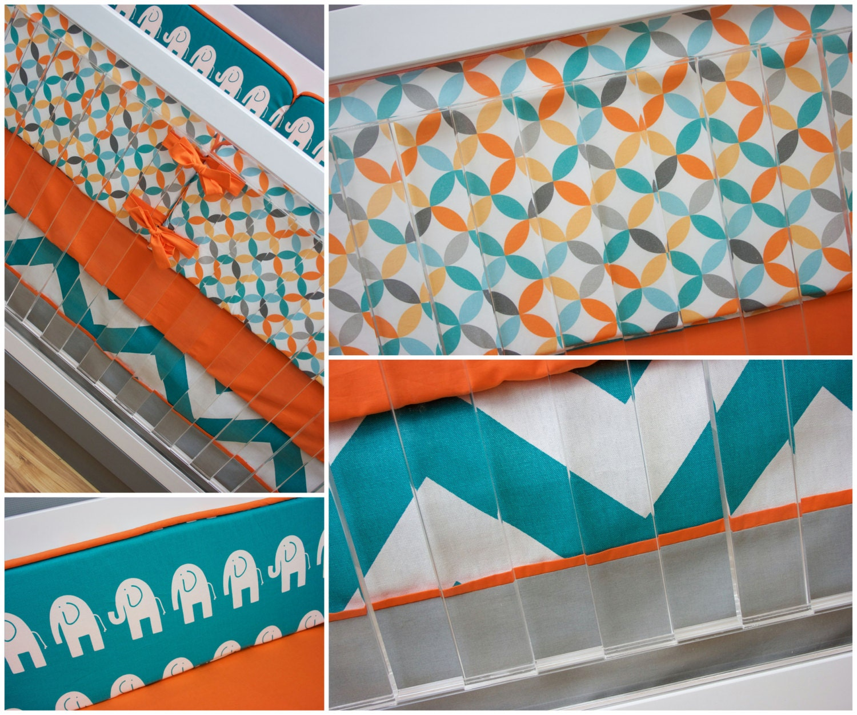Crib Bedding Boy Turquoise Orange Aqua and Gray Baby