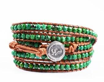 Turquoise 5X Beaded Leather Wrap Bracelet, 4mm faceted Turquoise beads 5X Wrap Bracelet, Boho Chic, Magical Turquoise Healing stone
