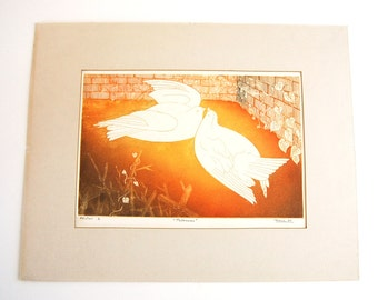 Rosa Ballester Palomas Bird Aquatint Etching Signed Dated