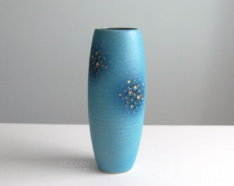 Japanese Modern Ikebana Studio Pottery Tall Blue with Gold Dots Vase