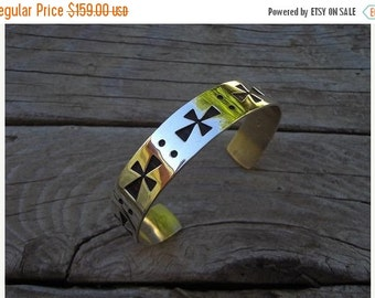 ON SALE Cuff bracelet with a medieval cross in sterling silver