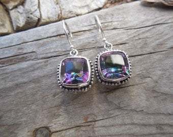 Mystic topaz earrings, designed, cast and antiqued in sterling silver
