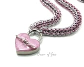 BDSM Slave Collar Silver& Pink with Heart and Barbed Wire Lock Submissive Collar
