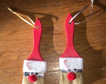 Santa Claus Paint Brush Decoration / Ornament for the Holidays, Set of two