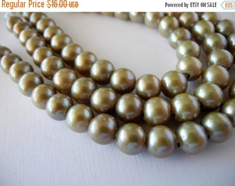 ON SALE Large Hole Pearls Freshwater Pearls Khaki Green  8mm 27 Pieces