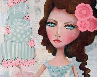 Giclee Fine Art Archival Print ~ Good Day For Cake ~ Mixed Media Art ~ By Kim Costello