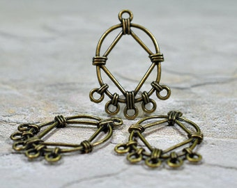 Antique brass oval drops, 30x23mm, #627