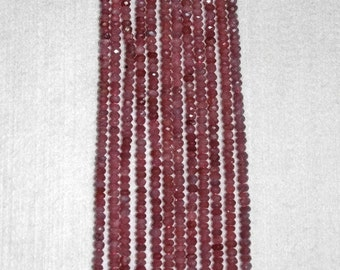 Ruby, Ruby Rondelle, Faceted Rondelle, Faceted Ruby, Pink Ruby Rondelle, Precious Stone, Natural Stone, Half Strand, 5 mm, AdrianasBeads