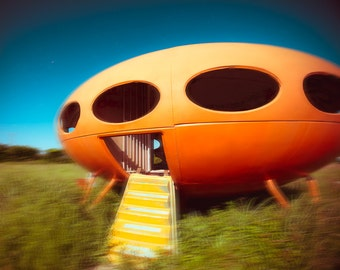 Fine Art Photography, Architecture Photo, Flying Saucer Art, Futuro House, Texas Photo, Fine Art Print, Modern Wall Art, UFO, Boys room art