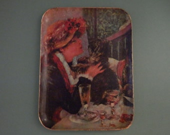 10 x 14 Decoupage Renoir Tray Paper Mache Girl w Dog Impressionist Artist Painting Utility Server Serving Coffee Table Ottoman Wall Hanger