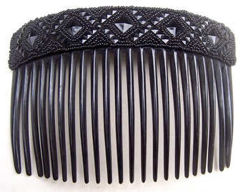 A French jet Victorian mourning hair comb hair ornament hair jewelry decorative comb hair pin hair pick (AAK)