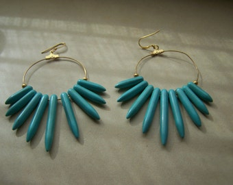 Large Dangle Turquoise spikes On Gold Pierced Earrings