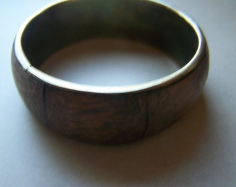 Brass with Wood Inlay Wide Bangle Bracelet