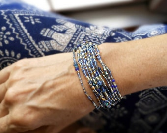 Sapphire Blues Beaded Wrap Bracelet Long Seed Bead Stretch Bracelet - September Birthstone Colors