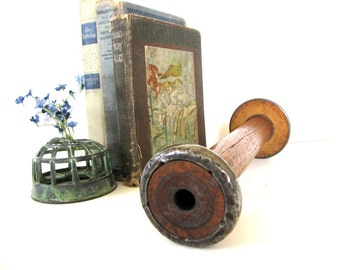 Antique Wood Spool Primitive Industrial Wooden Textile Decor Rustic Farmhouse from AllieEtCie
