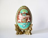 Chocolate Brown and Turquoise home decor objects of art egg, gift for boyfriends father, future in laws, mother of the bride, groom, bestmen