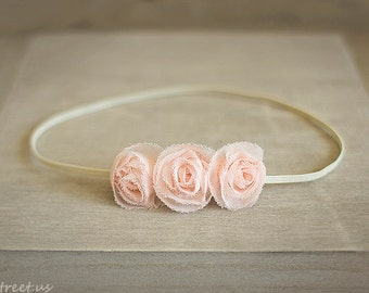 Baby Headband, Light Pink Rose Newborn Headband, Newborn Props, Triple Flower Headband, RTS Props, Peach Pink Headband, Newborn Props