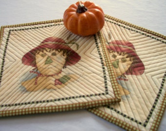 Scarecrow Mug Rugs Quilted Coasters Set of 2 Fall Autumn Quiltsy Handmade FREE U.S. Shipping
