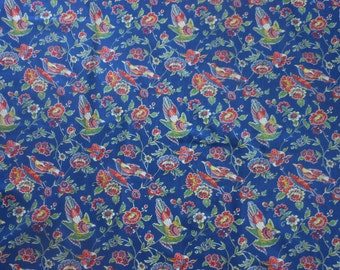 Handmade cotton print tablecloth  floral with birds primary colors 53 inches square kitchen patio overlay