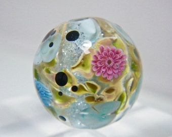 Glitter Flower Focal Bead  by Caroline Dousi