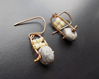 Opal and Goldfill Earrings with handmade goldfill ear wires. Unique silver and ceramic beads and wello opals. Rustic style with Tribal flair