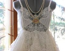 ON SALE  - S-M Creamy ivory alternative bride tattered boho gypsy hippie wedding dress, lace, size 8 - 10, small -medium, by Lily Whitepad