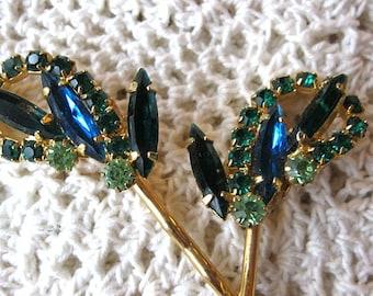 Wedding hair pins, emerald green and sapphire blue rhinestone hair pins, vintage earring hair pins, vintage bobby pins, bridal hair pins
