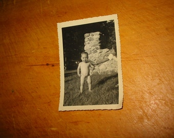 Vintage Snapshot Toddler In The Buff Toddler Al Fresco Au Naturel Photo With Mom 1950's