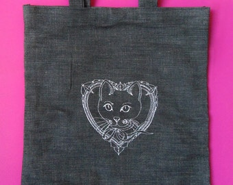 Cool Cat Embroidery Tote bag