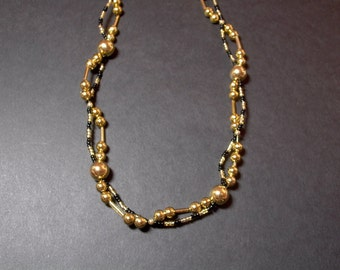 Gold, Black & Clear Beaded Necklace