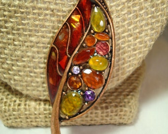 Vintage Liz Claiborne Copper Jeweled Fall Leaf Pin.