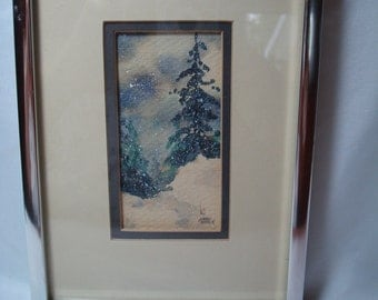 Vintage Kathy Seek Small Watercolor of Pine Trees in the Winter Snow.