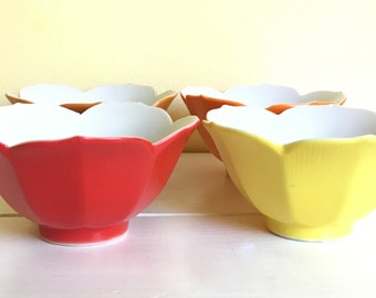 Vintage Lotus Bowls, Set of 4, Fall Colors, Red/Orange/Yellow, Made in Japan