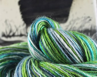 Handspun Yarn Gently Thick and Thin DK Single Blue Faced Leicester and Tussah Silk Blue Moon Fiber Arts 'Boobie 1'