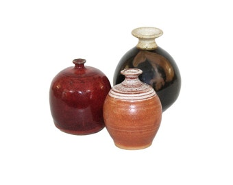 Set of 3 Studio Pottery Weed Pots Bud Vases