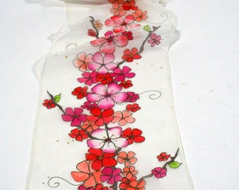 Cherry blossom scarf, dogwood scarf , hand painted scarf , white scarf