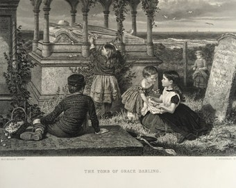 1800s Etching Tomb of Grace Darling Grave Cemetery