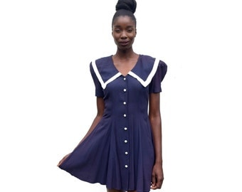Navy and white trimmed sailor dress with buttons 1990s 90s VINTAGE