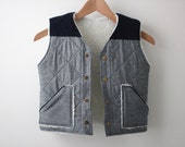 Kid's Quilted Vest - Girl's Quilted Vest - Boy's Quilted Vest - Chambray Vest