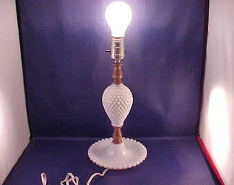White Hobnail Milk Glass Dresser Lamp