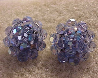 Cluster Bead Clip On Earrings Blue Glass Beads