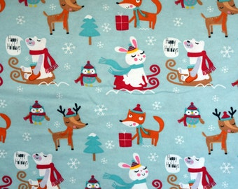 Forest animals in a winter Deer, foxes, bunnies, owls, bears print flannel pajama pants lounge dorm made to order your choice size XS - 2X