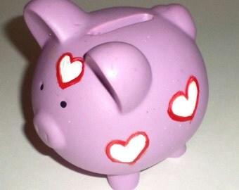 Purple Valentine Piggy Bank - Hand Painted Piggy Bank - Small Piggy Bank - Ceramic Piggy Bank - Rubber Stopper - Large Coin Slot