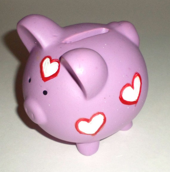 Items similar to purple valentine piggy bank hand - Piggy bank without stopper ...