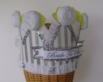 Bachelorette crown, Bride to Be crown,  Hen Party, silver and white