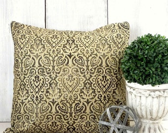 Black and Tan -  Damask Pillow Cover - French - Industrial Pillow Cover - Cottage - Farmhouse - Burlap