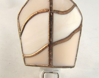 Pale peach and copper Hand Crafted Stained Glass Electric Night Light