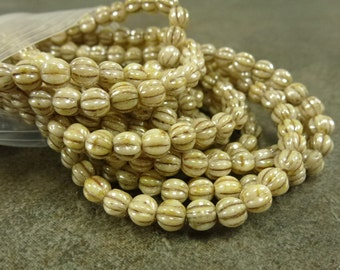 Opaque Cream Picasso Luster Czech Glass Melon Beads 5mm 50pc Ribbed Round Beads Fluted Picasso