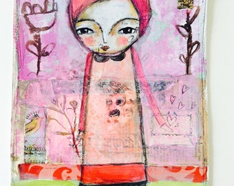 Grace -  original painting,  mixed media art, whimsical art, wall art, pink, red