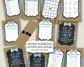 Rustic Bow Tie Baby Shower Game Package / purse word scramble bingo wishes baby food games / boy baby shower games bowties burlap chalkboard